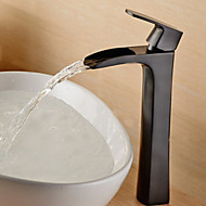 Contemporary Tall Oil-rubbed Bronze Waterfall Bathroom Sink Faucet - Black