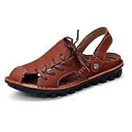 Men's Shoes Leather Outdoor / Casual Sandals Outdoor / Casual Sport Sandals Flat Heel Hollow-out Taupe