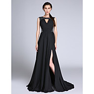 TS Couture® Formal Evening / Military Ball Dress - Furcal / Sparkle & Shine Plus Size / Petite A-line / Princess Jewel Sweep / Brush Train Chiffon