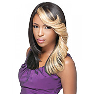 20inch Capless Women Long Ombre Black Brown Curly Synthetic Wigs with Free Hair Net and Comb