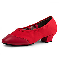 Non Customizable Women's Dance Shoes Canvas Dance Sneakers Heels Chunky Heel Performance Black / Red EU36-40