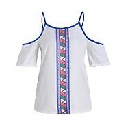 Tryck Kortärmad T-shirt Kvinnors Rund hals Polyester