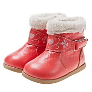 Girls' Shoes Casual Leather Boots Winter Snow Boots Flat Heel Magic Tape Black