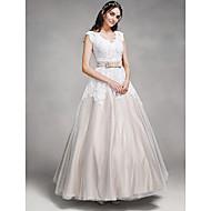 lanting 웨딩 드레스 발목 길이의 V 넥 레이스 / 새틴 / 얇은 명주 그물 A 라인을 신부