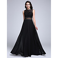 TS Couture® Formal Evening Dress A-line Bateau Floor-length Chiffon / Lace with Appliques / Beading / Lace