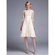 Serata formale Vestito Linea-A Con decorazione gioiello Lunghezza tè Raso / Tulle con Con balze