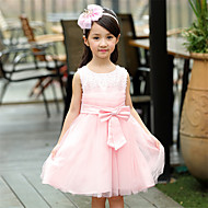 A-line Knee-length Flower Girl Dress - Cotton / Satin / Tulle Sleeveless Jewel with Beading / Bow(s)