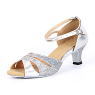 Chaussures de danse(Argent Or) -Non Personnalisables-Talon Bottier-Paillette Brillante-Latine Salon