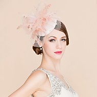 Women's / Flower Girl's Feather / Flax / Fabric Headpiece-Wedding / Special Occasion / Casual Fascinators / Pink Round