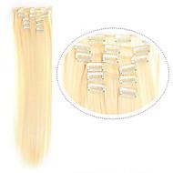 """22 """"(60 סנטימטרים) 7pcs 613 בלונדינית קליפ # תוספות שיער extention סינטטי סיבי שיער בלונדיני ארוך שיער בלונדיני שיער"""