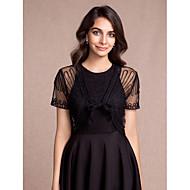 여성 숄 볼레로 짧은 소매 명주그물 블랙 샴페인 로얄 블루 레드 파티/이브닝 캐쥬얼 V넥 40cm 무늬 레이스업