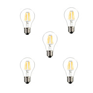 5pcs HRY® A60 6W E27 500LM Dimmable 360 Degree Warm Cool White Color LED Filament Light