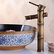 Bamboo Shaped Antique Bronze Finish Brass Bathroom Sink Faucet