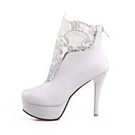 נעלי נשים-מגפיים-PU-עקבים / מעוגל-שחור / לבן-משרד ועבודה / קז'ואל-עקב סטילטו