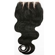 From 8inch-20inch Натуральный чёрный (#1В) Естественные кудри Человеческие волосы закрытие Умеренно-коричневый Швейцарское кружево