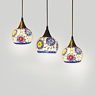 BOXIMIYA Mediterranean Restaurant Simple Chandelier With 3 Straight Hanging Plate, A Single Diameter 15 Cm