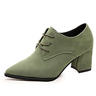 Women's Shoes Retro Suede Chunky Heel Comfort / Pointed Toe Oxfords Office & Career / Casual Black / Green / Gray