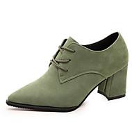 נשים נעלי רטרו זמש נוחות עקב עבה / משרד נעלי מחודד בוהן&קריירה / אפור שחור / ירוק / מזדמנים