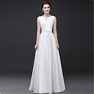 Formal Evening Dress Sheath / Column Notched Floor-length Satin with Beading / Sash / Ribbon