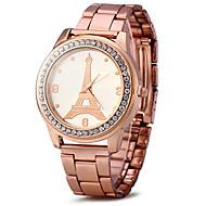 Unisex Dress Watch Fashion Watch Simulated Diamond Watch / Imitation Diamond Quartz Rose Gold Plated Stainless Steel BandSparkle Eiffel Strap Watch