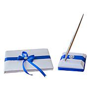 "Satén,Cinta / Lazo / Piedras) -Tema Playa / Tema Jardín / Tema las Vegas / Tema Asiático Azul 9 1/2 ""x 6 1/3"" (24 cm x 16,5 cm)Libro de"