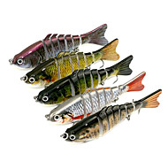 5pcs 100mm 15.4g Fishing Bait 7-Section Fishing Lures  Random Colors