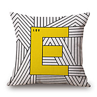 Cotton/Linen Pillow Cover,Striped / Geometric / Quotes & Sayings Accent/Decorative / Modern/Contemporary / Casual