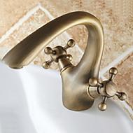 centerset duas alças de um buraco em bronze antigo torneira pia do banheiro