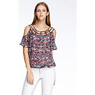 heart Soul® Dame Rund hals Kort Ærme T Shirt Sølv-11AA24538