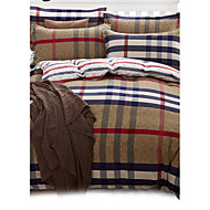 Plaid Pattern Polyester 4PC Duvet Cover Sets,Queen Size
