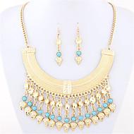 Women's Fashion Simple Metal Bohemia Turquoise Necklace Earrings Set