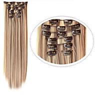 קליפ שיער קוספליי סינטטי # extention שיער סינטטי 12/613 תמהיל 7pcs צבע / 22inch להגדיר הארכת שיער