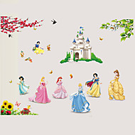 Snow White 7 Princess Fairy Tale World Cartoon Wall Stickers DIY Family Living Room Bedroom Kindergarten Wall Decals