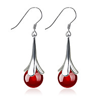 Drop Earrings Fashion Silver Sterling Silver Circle Flower Black Red Jewelry For Wedding Party Daily Casual Sports 1 Pair