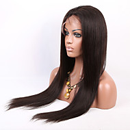 24-30 Inch Unprocessed Brazilian Virgin Human Hair Full Lace Wig Silk Straight Natural Color Lace Wig with Baby Hair
