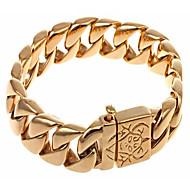Pánské Řetězové & Ploché Náramky Nerez Pozlacené Módní Geometric Shape Zlatá Šperky 1ks