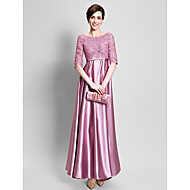 Sheath / Column Mother of the Bride Dress Floor-length Lace / Satin with Appliques / Lace