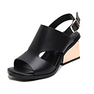 Women's Shoes Cowhide Chunky Heel Slingback Sandals Office & Career / Dress / Casual Black