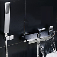 Modern Bad en douche Waterval Wide spary with  Keramische ventiel Twee handgrepen twee gaten for  Chroom , Douchekraan Badkraan