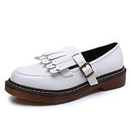 Bez podpatku-Koženka-Uzavřená špička / Pohodlné / Kulatá špička-Dámská obuv-Černá / Žlutá / Bílá-Běžné-Nízký podpatek