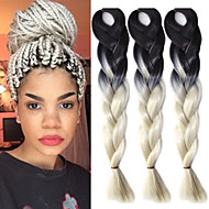 "Um bloco de crochet preto branco cremoso ombre 24"" yaki kanekalon fibra 100g tom 2 tranças de cabelo sintético jumbo"