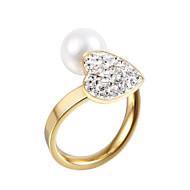 Široké prsteny Perly imitace Diamond Dvojitá vrstva crossover Módní Nastavitelná Rozkošný Měsíční kámen Stříbrná Zlatá ŠperkySvatební
