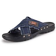 Men's Slippers & Flip-Flops Summer Denim Casual Flat Heel Others Black Blue Khaki Walking