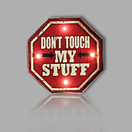 E-HOME® Metal Wall Art LED Wall Decor, DON'T TOUCH MY STUFF Sign LED Wall Decor One PCS