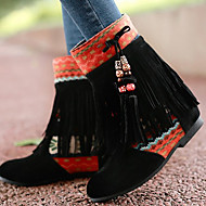 Boots Summer / Fall Round Toe Fabric Outdoor / Casual Low Heel Tassel Black / Blue / Yellow