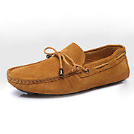 Men's Shoes Suede Casual Flats /  Casual Walking Flat Heel Bowknot / Others / Braided Strap Blue / Brown / Burgundy