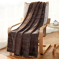 "Flannel Blankets Bed Blanket  W70""×L79""""Super Soft Warm and Easy Care Strip Pattern"