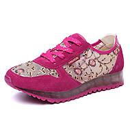 נעלי נשים-סניקרס אופנתיים-תחרה-נוחות-כחול / סגול / אדום כהה-ספורט-עקב שטוח