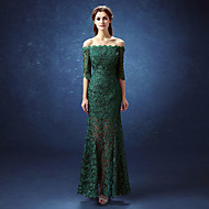 Formal Evening Dress Trumpet / Mermaid Off-the-shoulder Floor-length Lace / Satin with Lace