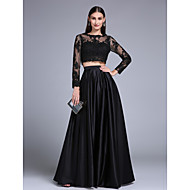 TS Couture Prom Formal Evening Dress - Two Pieces A-line Jewel Floor-length Lace Stretch Satin with Appliques